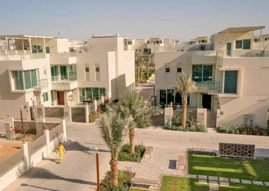 Picture of villas equipped with solar panels in the sustainable city Dubai""