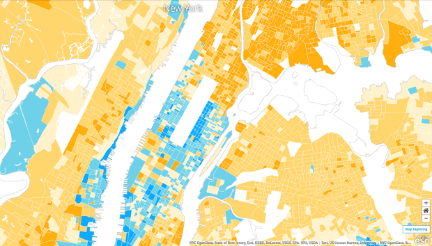 Map of income distribution NYC