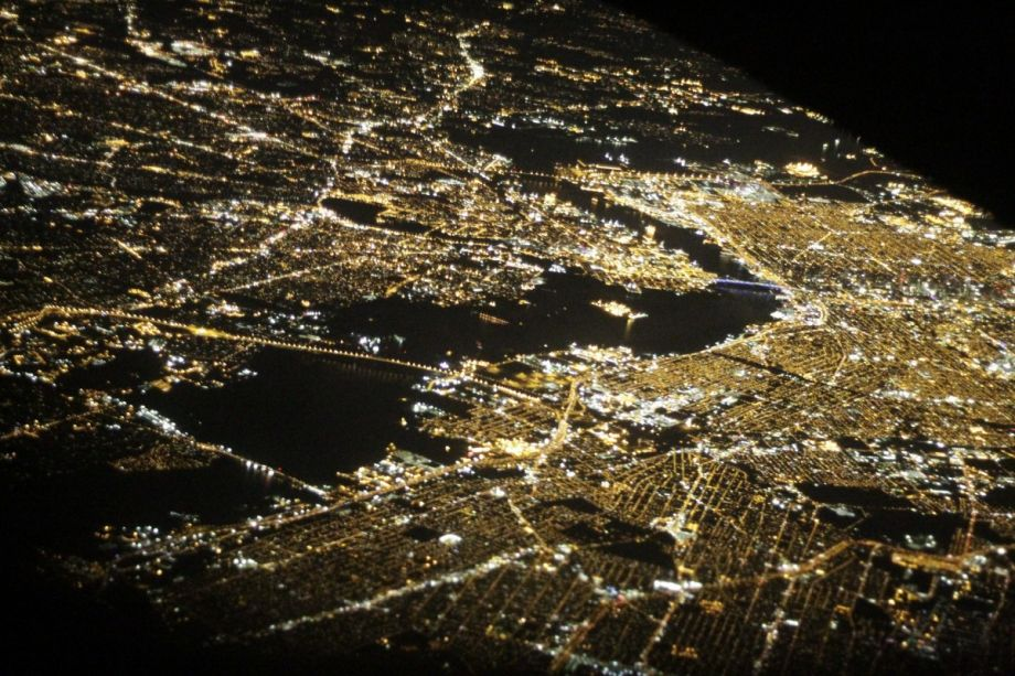NYC at night from space