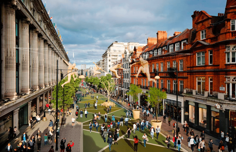 An artist's impression of how Oxford Street could look after pedestrianisation
